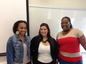 Rejoined by classmates (from left) Ashley, Alexa, and Justine, who spent the summer speaking Portuguese
