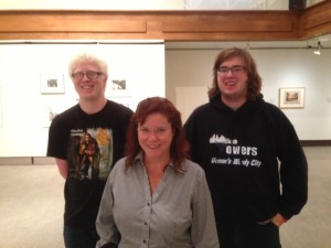 Professor and children's author Pegi Deitz Shea with students Brendan (left) and Kyle (right).