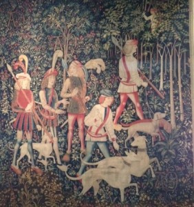"A section from the Unicorn Tapestry titled ""The Hunters Enter the Woods."""