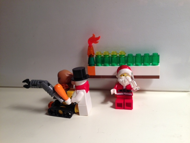 Because he's the Man, Santa gets to chill under the menorah while Snowman does all the work.