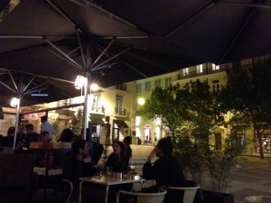 Outdoor dining at Cafe Lisboa.