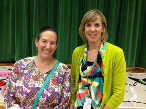 Teachers Karen Lapuk (left) and Susan Parra at the Multicultural Dinner.