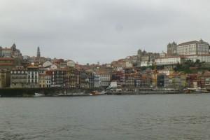 View of the Porto waterfront from Vila Nova de Gaia, in spring 2014.