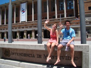 My adult children, Maddy and Derrick, at the Intendencia (City Hall) of Montevideo, Uruguay. Derrick wears the shirt of his favorite player, Diego Forlán.