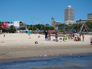 Montevideo is built on the northern bank of the Río de la Plata, and the city features many beaches as well as parks.
