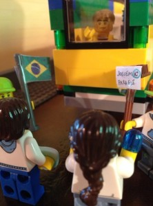 During the World Cup I used my construction to show fans greeting an injured Neymar.