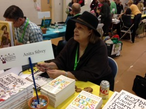 Anita Silvey talks to a young writer (not pictured because I don't add photos of children without their grownups' permission).