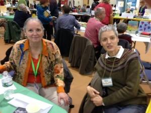 Authors Patrice Kindl (left) and Sylvie Kantorovitz.