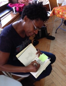 Jacqueline Woodson signs my copy of Brown Girl Dreaming.