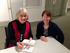 Katherine Paterson signs a book for first semester student Diane Telgen.
