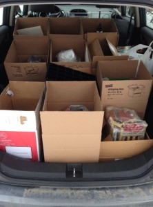 All 16 boxes containing Little Brick Township fit perfectly into my Honda Fit.