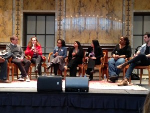 Diversity and representation panel at the Teen Author Festival, from left: Andrew Smith, Maria E. Andreu, Dhionelle Clayton, Sona Charaipotra, I.W. Gregorio, Coe Booth, Adam Silvera. Moderator David Levithan was cut off on the left.