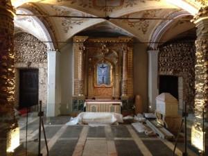 Human bones and skulls decorate the Chapel of Bones.