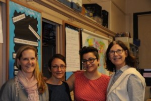 VCFA workshop facilitators, from left, Susan Korchak, Marianna Baer, Danielle Pignataro, and me.