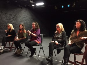 Key Change cast at a Q & A after the show, from left: Christina Berriman Dawson (Kelly), Cheryl Dixon (Lucy), Catrina McHugh (playwright), Judi Earl (Kim), and Jessica Johnson (Angie).