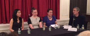 Contracts panelists, from left, Jacqueline Ko, Juliet Grames, Shelley Frisch, and moderator Alex Zucker.
