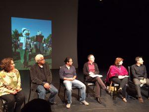 The panelists, from left, Susanna Reich, Raúl Colón, Duncan Tonatiuh, Manuel M. Martín-Rodríguez, Carmen Tafolla, Jesse Gainer.