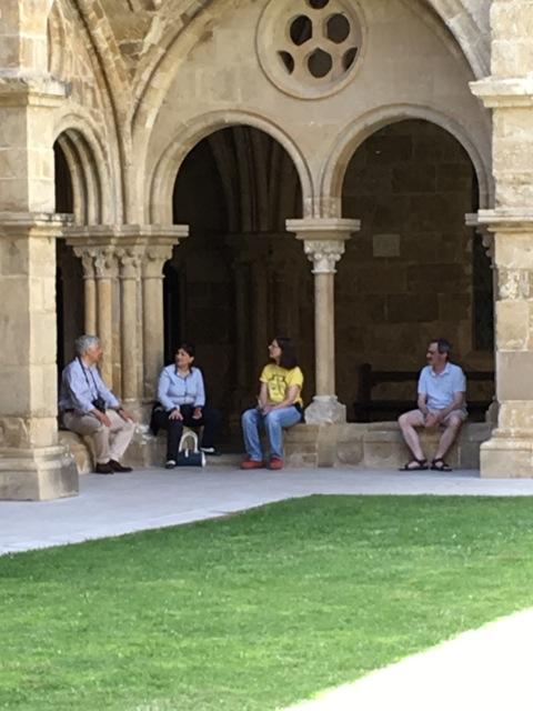 At the cloister with Raimundo, Henriqueta, and Richard. Photo by Sandra Nickel.