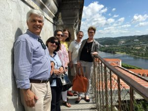 Our group on a balcony at the university, from left: Raimundo, Henriqueta, her teaching colleague Angela, me, Richard, Sandra. Photo by Regina de Oliveira Moraes..