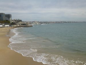 The beach at Cascais, a short train ride from Lisbon. And, yes, I went on a cloudy day.