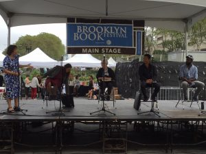 "The ""Won't Know Much About History"" panel at the 2016 Brooklyn Book Festival. From left, Fatima Shaik, Sharon Dennis Wyeth, Jeannette Winter, Chris Soentpiet, Sean Qualls."