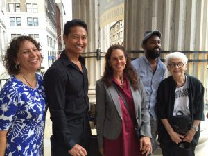 Panelists pose at the end of the event. From left, Fatima Shaik, Chris Soentpiet, Sharon Dennis Wyeth, Sean Qualls, Jeanette Winter.