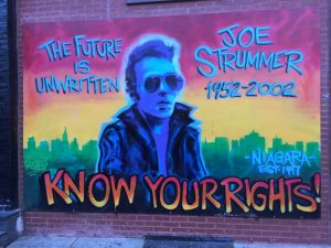 The iconic Joe Strummer mural in the East Village across the street from Tompkins Square Park.