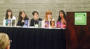 The Diversity in Historical Fiction panel at NCTE, from left, Tara Sim, me, Stacey Lee, Mackenzi Lee, and Padma Venkatraman. Photo by Katherine Perkins.