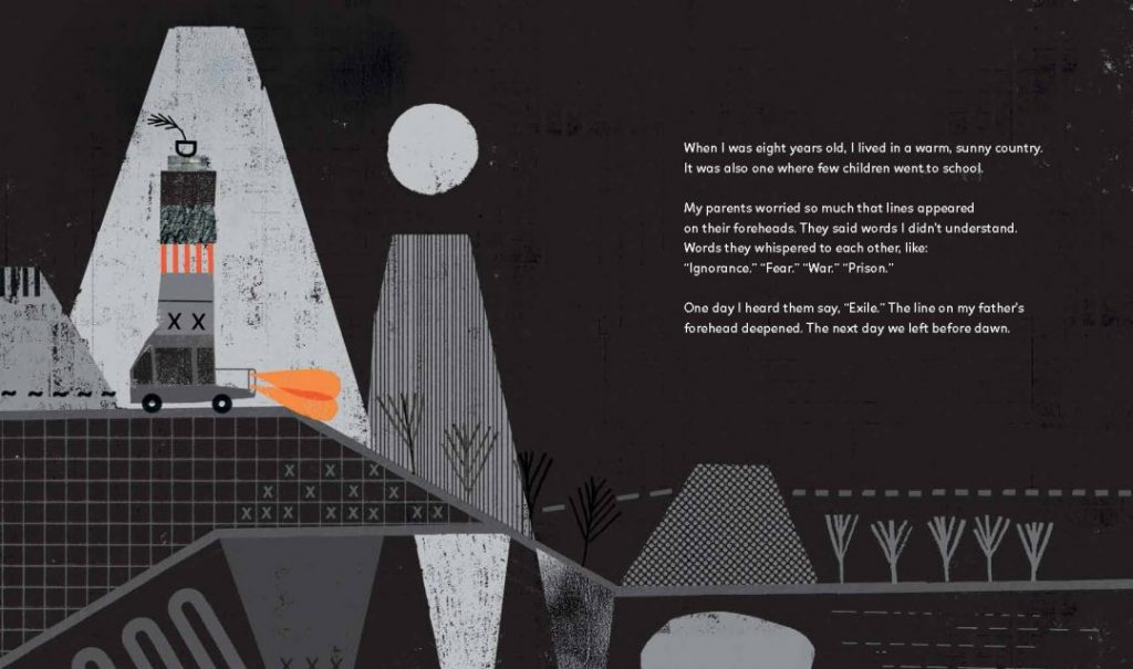 The opening page of Three Balls of Wool (Can Change the World) shows the family fleeing the dictatorship in Portugal.